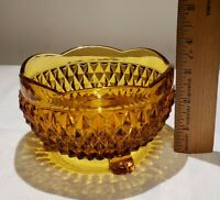 """Vintage Indiana Glass Amber Diamond Point 3 Footed Candy Dish Bowl 3""""H x 5""""W"""