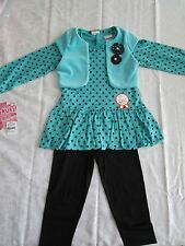 Outfit 3 Piece Set Girls 2T Long Sleeves 100% Plush Pima Cotton Leggings NWT New