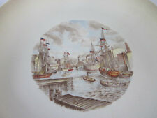 2 Vintage Plates American Indians Colonial Army + Old Ships in Harbor Boston?