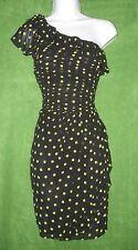 Allen B Schwartz Black Green Polka Dot Chiffon One-Shoulder Ruffle Dress 6 $69
