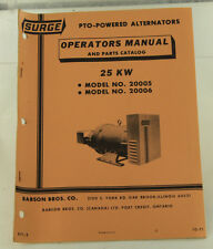 Vintage SURGE 25kw PTO Powered Alternator Operators Manual & Parts Catalog