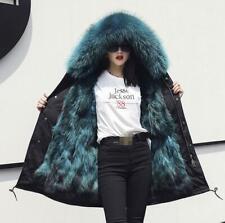 Women Multi-color Fox Fur Lining Big Fur Collar Hooded Parka Winter Warm Outwear
