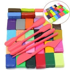 32 Colour Oven Bake Polymer Clay Block Modelling Moulding Sculpey + 5 DIY Tool