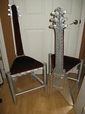 "2 Custom ""Gibson Flying V"" Guitar Chairs Rock n Roll Music Art Deco Modern Decor"