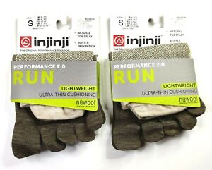 Injinji Performance 2.0 Run 2-Pack NuWool Lightweight Toe Socks Small Oat