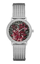 GUESS W0822L1 RRP$399 Ladies Willow Red & Silver Floral Watch Warranty+Packaging