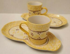 TEMPTATIONS Old World YELLOW  Snack Plate W/ Mug SET OF 2