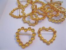 18 LOT Goldtone Pins Brooches Heart Style Design Add Pearls OR Stones