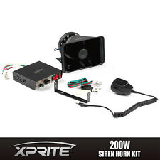 Xprite 200W 12V Loud Speaker PA Horn Siren System Mic Kit Police Car Fire Truck
