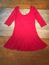 Women Juniors Free People Scoop Neck 3/4 Sleeve Tunic Dress Red Sz Small Viscose