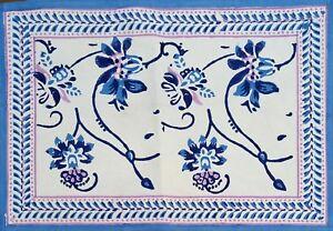 Floral Block Print Placemat Table Mat Rectangular  19 x 14 inches Cotton Blue