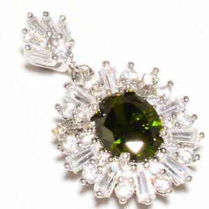"Burmese Peridot & White Topaz Gemstone 925 Sterling Silver Pendant 1.25"" F2526"