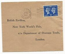Great Britain Scott #256 First Day Cover WWII New York World's Fair May 6, 1940