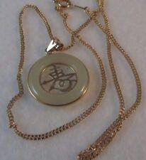 """14k Oro Petite Gucci Mariner Enlace Necklace.jade Colgante 16"""" L Sale-Save $450."""
