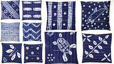 "16"" KANTHA THROW TIE DYE INDIGO BLUE CUSHION PILLOW COVER Bohemian Throw Decor"