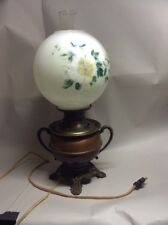 ANTIQUE  GONE WITH THE WIND LAMP COPPER BRASS BASE CONVERTED BACK IN 1940s