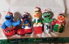 Set 5 Vintage Jim Henson Sesame Street Ornaments Cookie Grover Ernie Oscar Bert