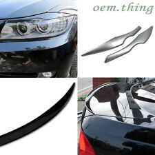 PAINTED BMW E90 3 SERIES 4D REAR TRUNK SPOILER 328i 335d & FRONT EYELID EYEBROWS
