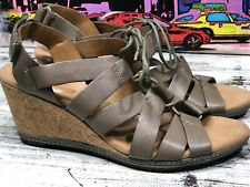 Clarks Soft Cushion Taupe Leather Lace Up Cork Wedge Heel Comfort Shoe Sandals 9