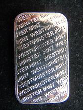 Very Rare with No Lion Vintage Silver Bar 1 Troy Oz 999 WM Westminster Mint USA
