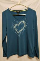 Escada Sport Women's Long Sleeve Graphic Shirt Size L Steel Blue Embellished