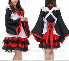 Anime Kimono Sleeve Lolita Maid Uniform Outfit Witch Cosplay Dress Party Costume