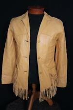 Vintage 1950'S -60'S Daim Couleur Peau de Cerf Frange Veste Western Taille Petit