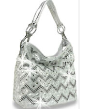 Zzfab Chevron Rhinestone Hobo Bag Sparkle Purse with shoulder Strap Silver