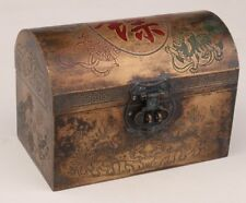 BRONZE HAND-CARVED ANCIENT CHINESE SECURITY JEWELRY BOX DRAGONS DOTTED WITH OLD