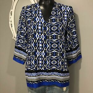 Size 0 /Small Womans NWT CHICO'S Blue Geometric Print Blouse Top