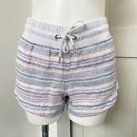 Athleta Beachside Bali Striped Linen Drawstring Casual Shorts Women's Size 4