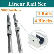 2pcs Sbr12 600mm Linear Rail Slide Guide Shaft Rod With 4x Sbr12uu Bearing Block