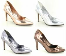 LADIES SPOT ON SLIP ON METALLIC POINTED TOE HIGH HEEL COURT SHOES F9659