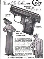 POST CARD OF A VINTAGE MAGAZINE ADVERTISEMENT FOR COLT .25 CALIBER HAND GUN