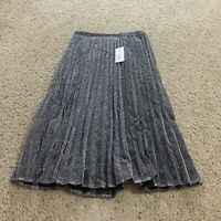 Maison Jules Womens Skirt Metallic Midi Pleated A Line Extra Small XS