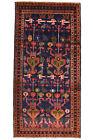 Vintage Tribal Hamadan Rug, 5'x10', Blue, Hand-Knotted Wool Pile