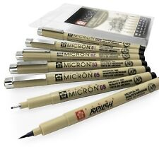 Sakura Pigma Micron - Pigment Fineliner Pens + Brush Pen - Wallet of 7 - Black