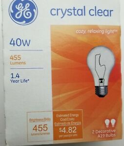 Ge 2 Pack 40w Crystal Clear A19 Decorative Bulbs 97470
