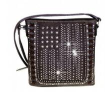 Rhinestone stars and stripes messenger bag black