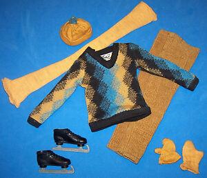 Vintage Ken Doll Fun on Ice Outfit #791 Ice Skates Skating Cap Scarf Mitten 1963