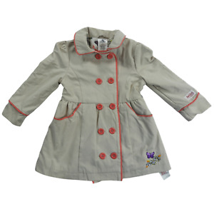 NWT Disney Animators Collection Tan & Pink Button Coat Girl's Size 3T