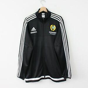 C67 Vtg Adidas Football Men Black Track Jacket Firebird Climacool Size XL