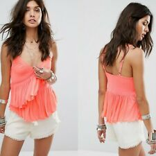 FREE PEOPLE Melbourne NWOT Neon Pink Ruffle Frill Tank Top XS RRP $90