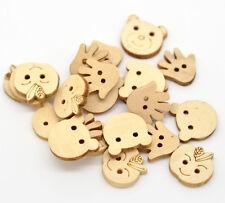 25g Mezclados Botones de madera sin tratar. Adorno, elaboración de tarjetas, Scrapbook Costura