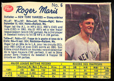 1962 POST CEREAL CANADIAN BASEBALL #6 Roger Maris VG-EX N Y Yankees Card