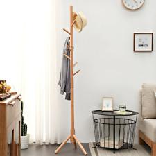 1x Standing Coat Rack Enterway Hall Tree Wooden Hat Scarves Handbags Hangers