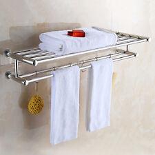 Double Chrome Wall Mounted Bathroom Towel Rail Holder Shelf Storage Rack Bar USA
