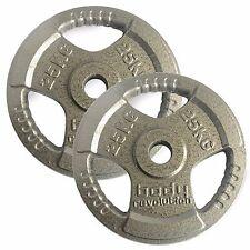 TRI Agarre Olímpico hierro fundido Placas Para Pesas 25 KG PAR 5.1cm PESOS