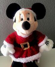 "Disney Minnie Mouse Santa Fur Dress Gift Plush 16"" Doll Christmas Holiday"