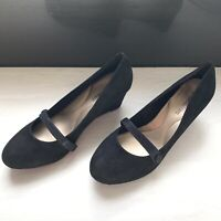 New Luca & Marc Black Suede Mary Jane Pumps Wedge Heel Size 10